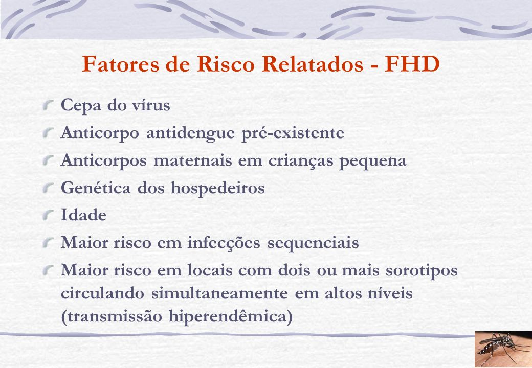 Fatores de Risco Relatados - FHD