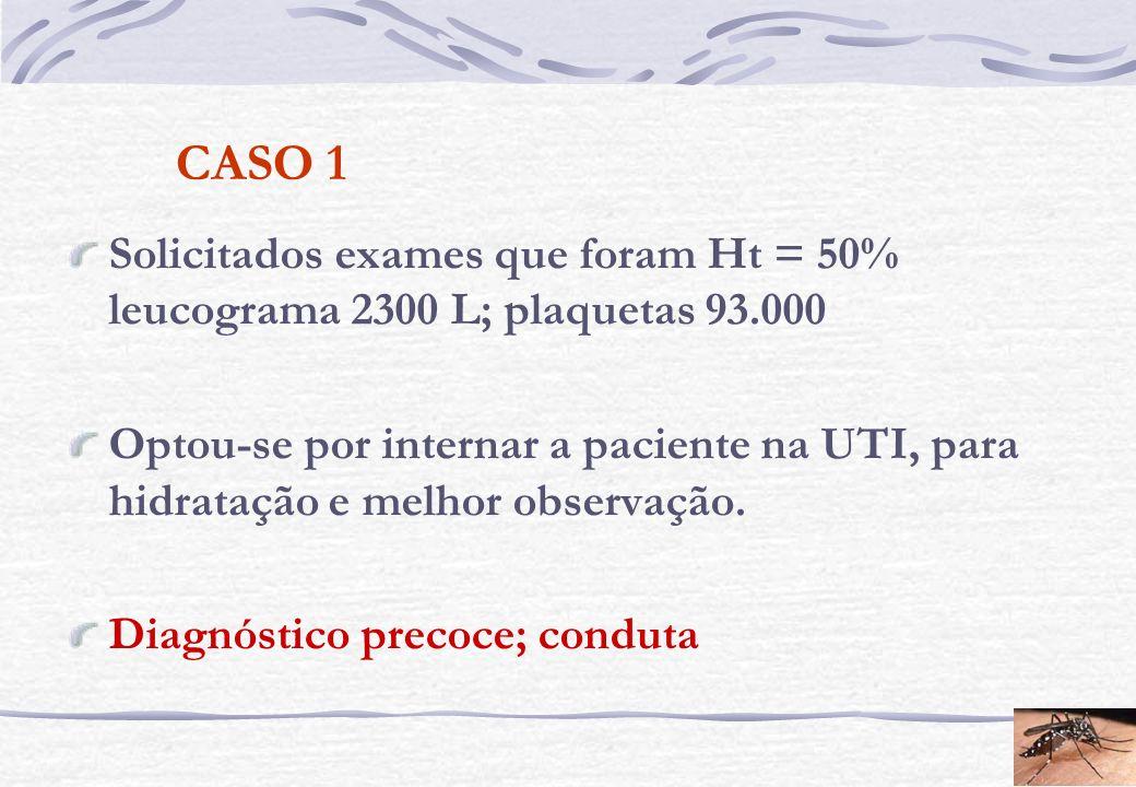 CASO 1 Solicitados exames que foram Ht = 50% leucograma 2300 L; plaquetas 93.000.