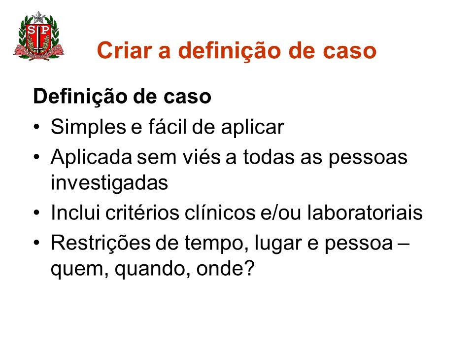 Criar a definição de caso
