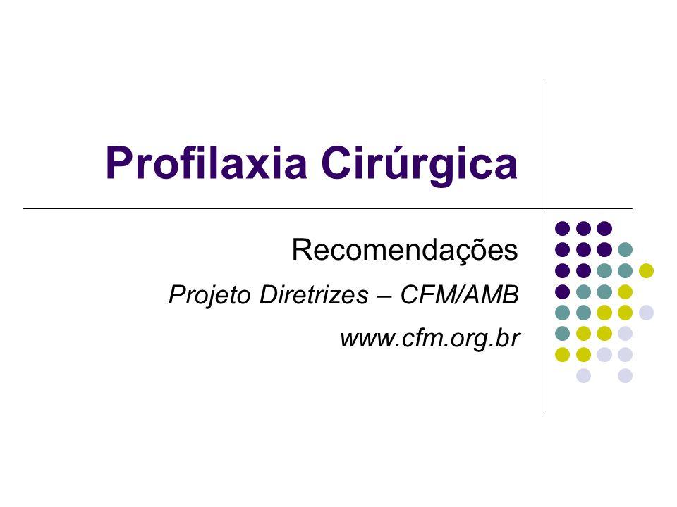 Recomendações Projeto Diretrizes – CFM/AMB www.cfm.org.br