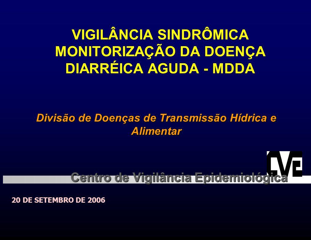 VIGILÂNCIA SINDRÔMICA MONITORIZAÇÃO DA DOENÇA DIARRÉICA AGUDA - MDDA