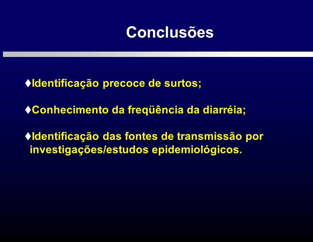 Conclusões Identificação precoce de surtos;
