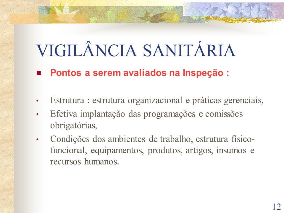 VIGILÂNCIA SANITÁRIA Pontos a serem avaliados na Inspeção :