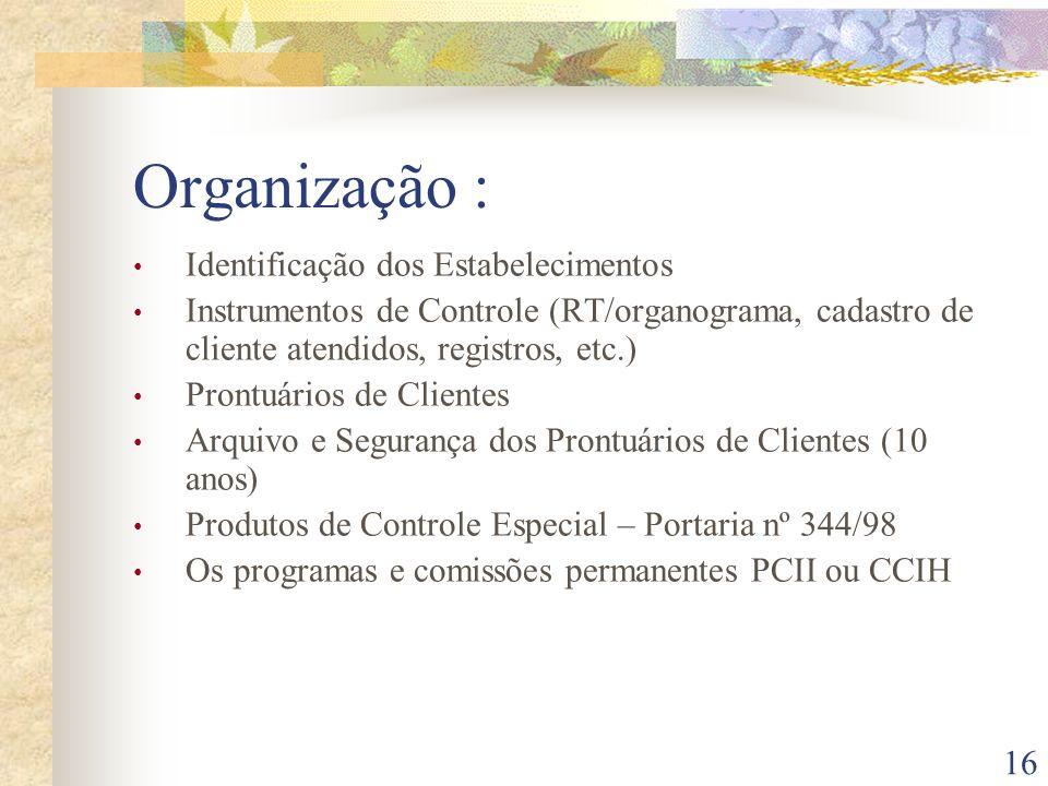 Organização : Identificação dos Estabelecimentos
