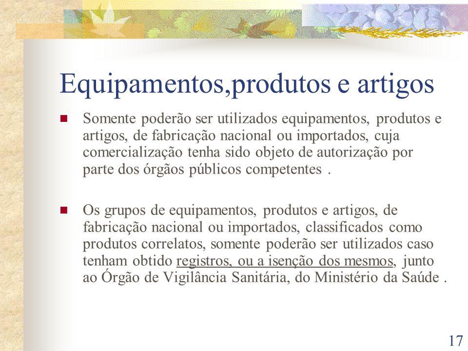 Equipamentos,produtos e artigos