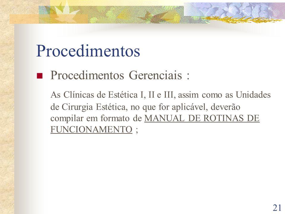 Procedimentos Procedimentos Gerenciais :