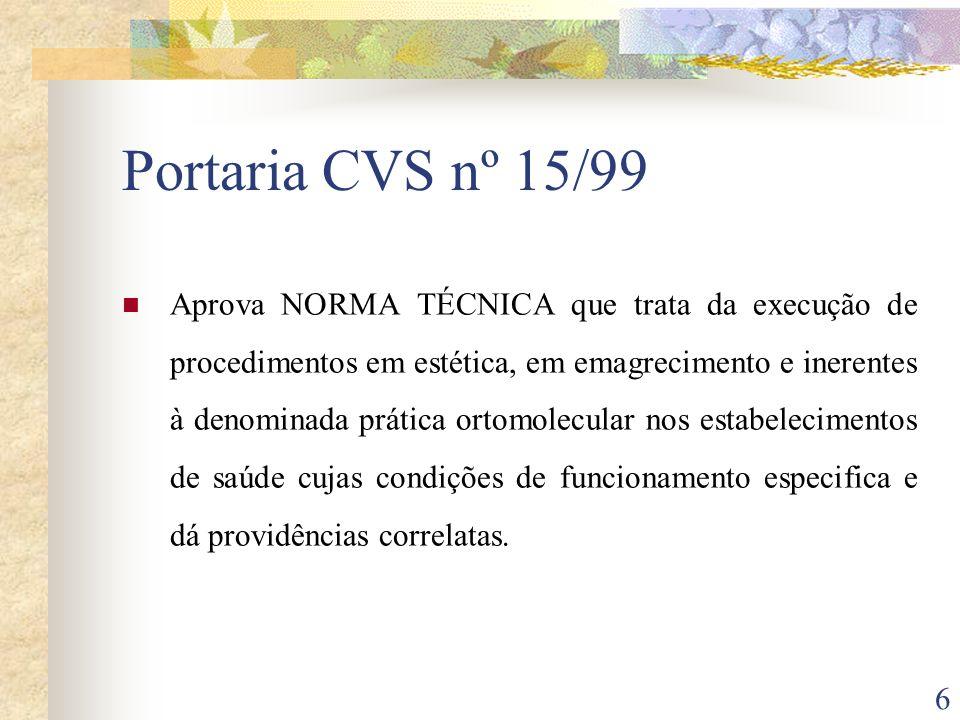 Portaria CVS nº 15/99