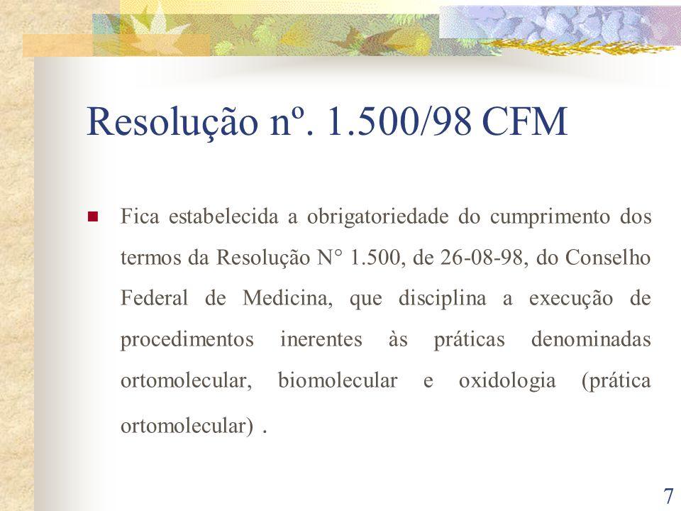 Resolução nº. 1.500/98 CFM