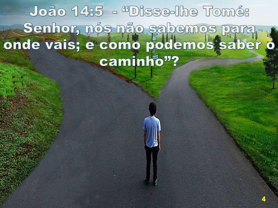 João 14:5 - Disse-lhe Tomé: Senhor, nós não sabemos para onde vais; e como podemos saber o caminho