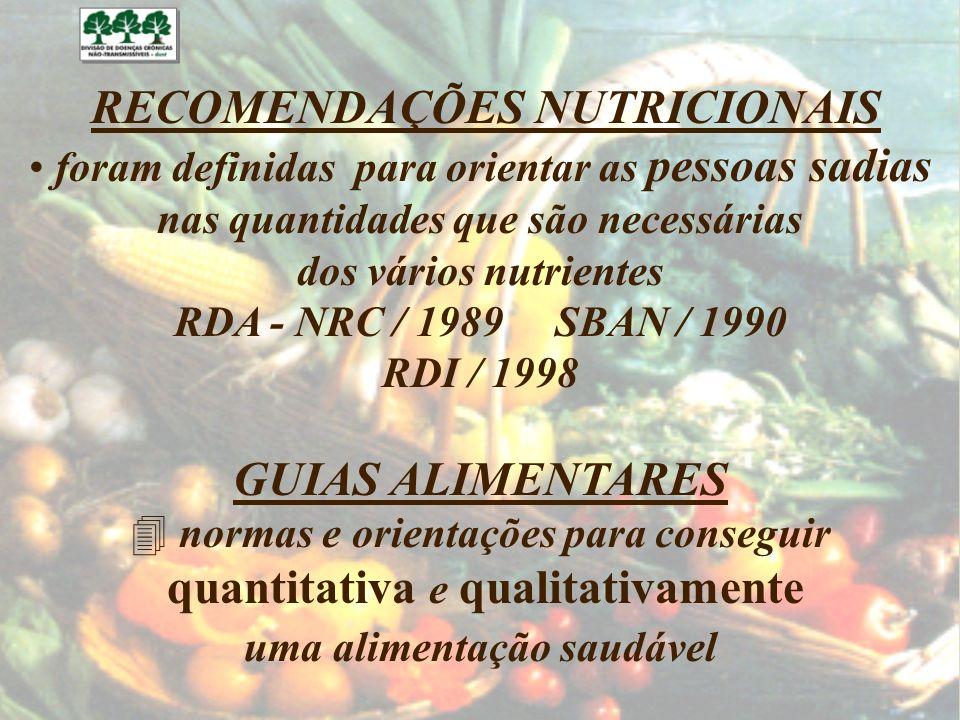 GUIAS ALIMENTARES RECOMENDAÇÕES NUTRICIONAIS