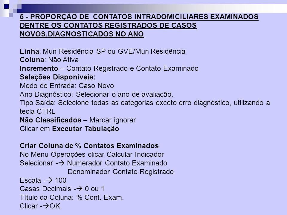 5 - PROPORÇÃO DE CONTATOS INTRADOMICILIARES EXAMINADOS DENTRE OS CONTATOS REGISTRADOS DE CASOS NOVOS,DIAGNOSTICADOS NO ANO