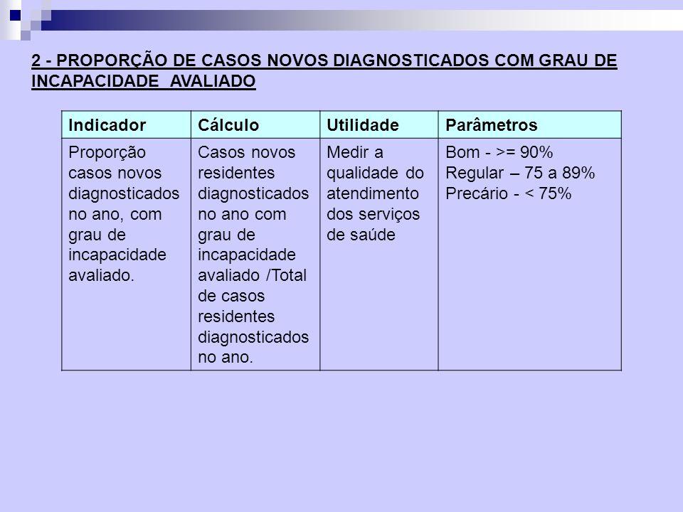 2 - PROPORÇÃO DE CASOS NOVOS DIAGNOSTICADOS COM GRAU DE INCAPACIDADE AVALIADO