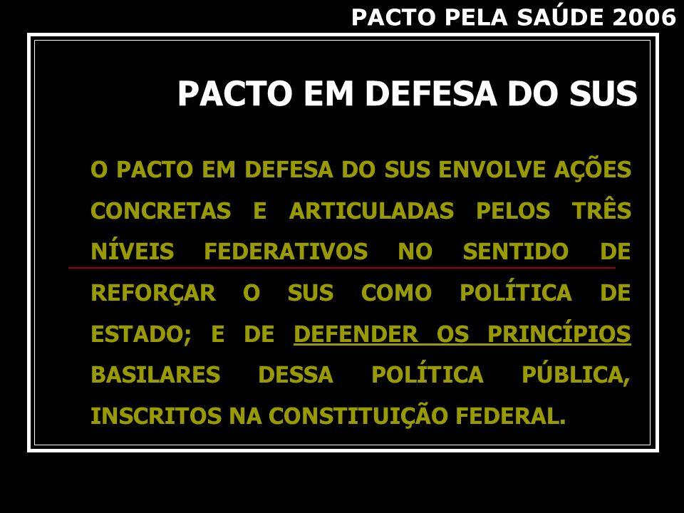 PACTO EM DEFESA DO SUS PACTO PELA SAÚDE 2006