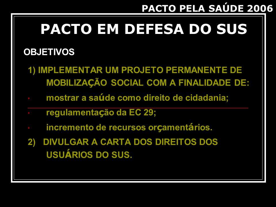 PACTO EM DEFESA DO SUS PACTO PELA SAÚDE 2006 OBJETIVOS