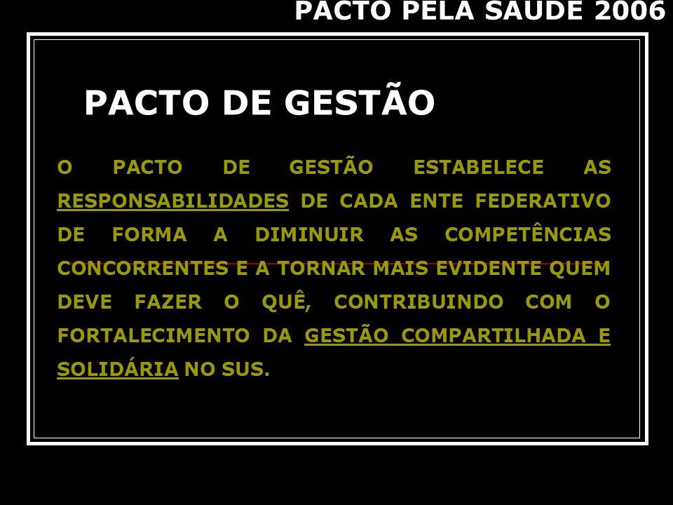 PACTO DE GESTÃO PACTO PELA SAÚDE 2006