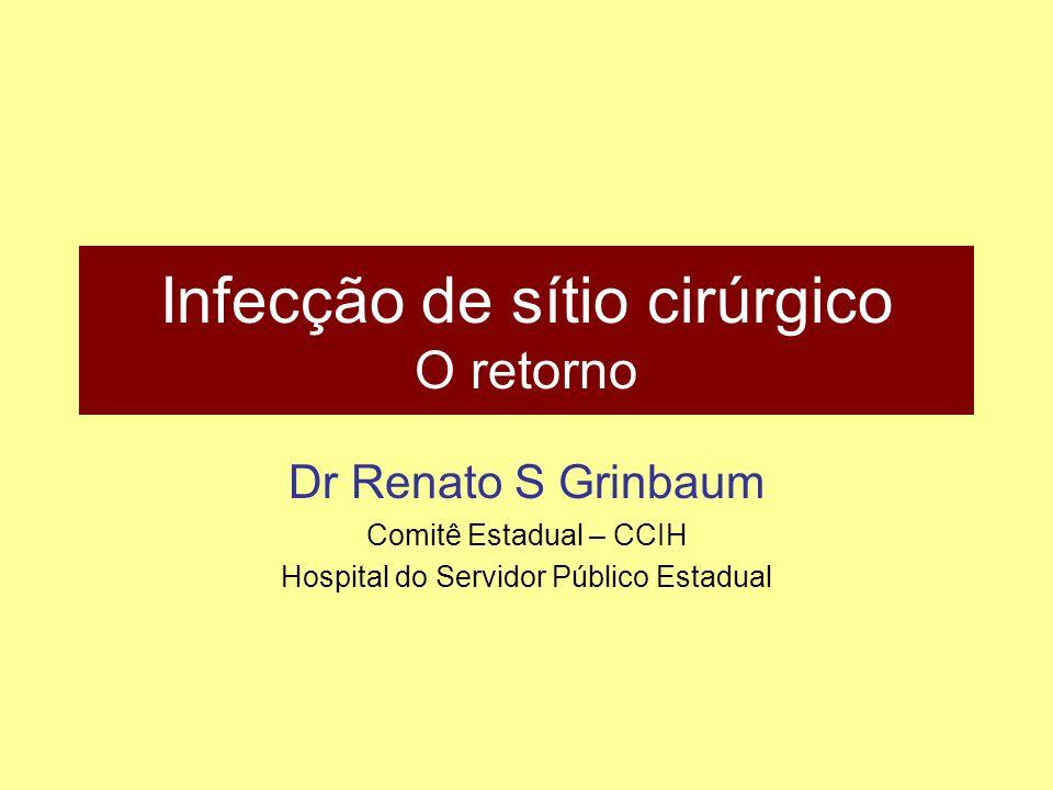 Infecção de sítio cirúrgico O retorno