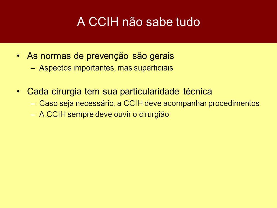 A CCIH não sabe tudo As normas de prevenção são gerais