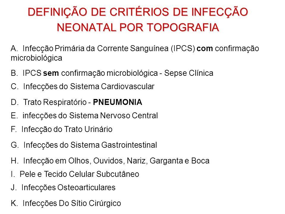DEFINIÇÃO DE CRITÉRIOS DE INFECÇÃO NEONATAL POR TOPOGRAFIA