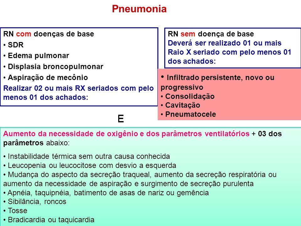 Pneumonia Infiltrado persistente, novo ou progressivo E E