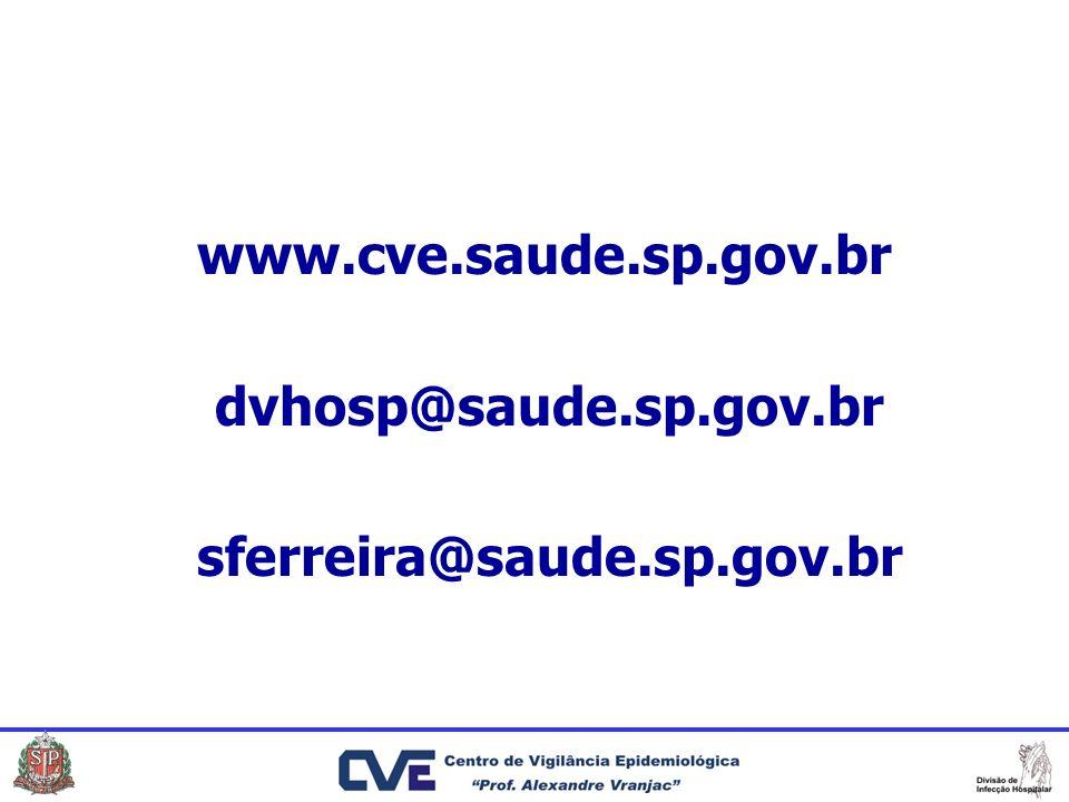www.cve.saude.sp.gov.br dvhosp@saude.sp.gov.br sferreira@saude.sp.gov.br