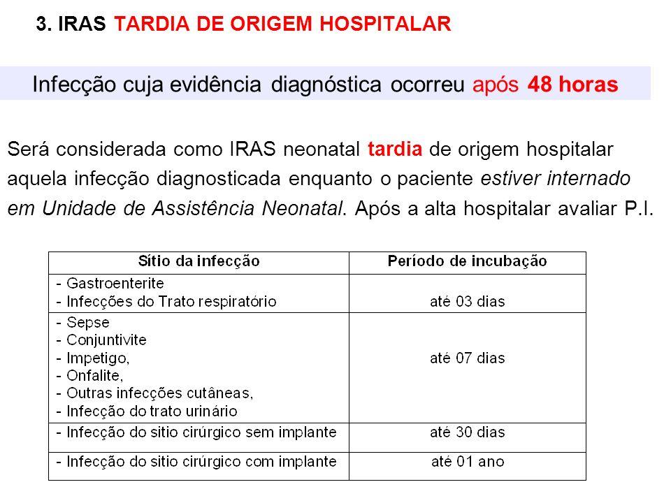 Infecção cuja evidência diagnóstica ocorreu após 48 horas