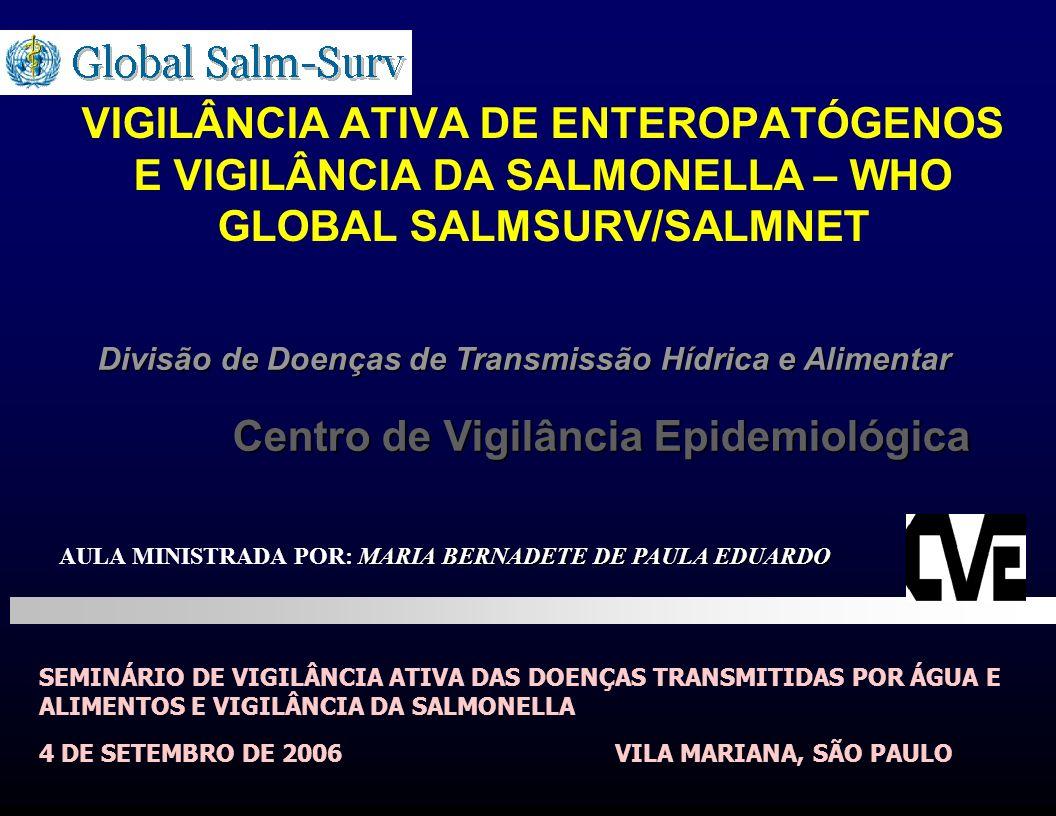 VIGILÂNCIA ATIVA DE ENTEROPATÓGENOS E VIGILÂNCIA DA SALMONELLA – WHO GLOBAL SALMSURV/SALMNET