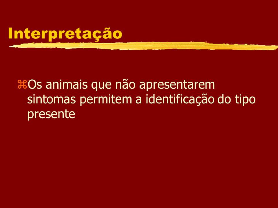Interpretação Os animais que não apresentarem sintomas permitem a identificação do tipo presente