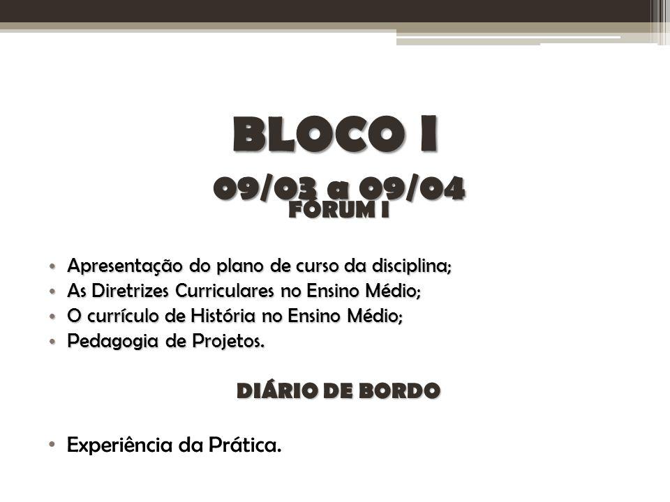 BLOCO I 09/03 a 09/04 FÓRUM I DIÁRIO DE BORDO Experiência da Prática.
