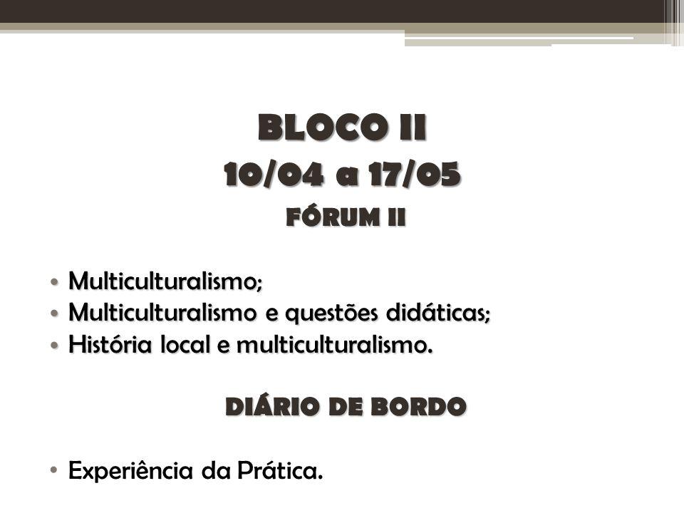 BLOCO II 10/04 a 17/05 FÓRUM II Multiculturalismo;