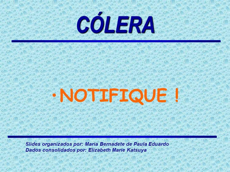 CÓLERA NOTIFIQUE . Slides organizados por: Maria Bernadete de Paula Eduardo.
