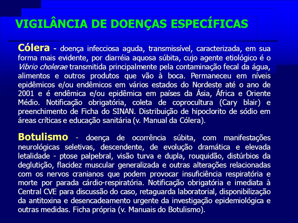 VIGILÂNCIA DE DOENÇAS ESPECÍFICAS