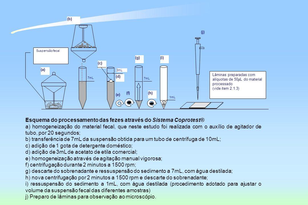 Esquema do processamento das fezes através do Sistema Coprotest®