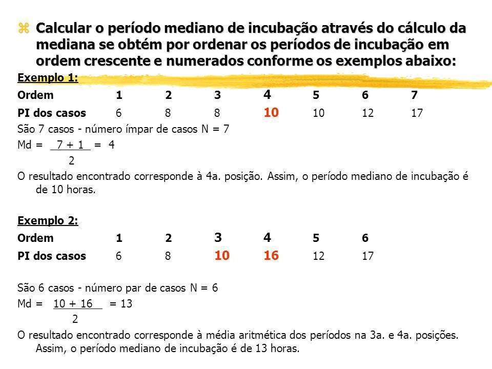 Calcular o período mediano de incubação através do cálculo da mediana se obtém por ordenar os períodos de incubação em ordem crescente e numerados conforme os exemplos abaixo: