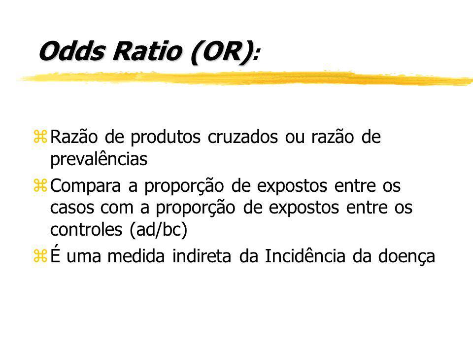 Odds Ratio (OR): Razão de produtos cruzados ou razão de prevalências