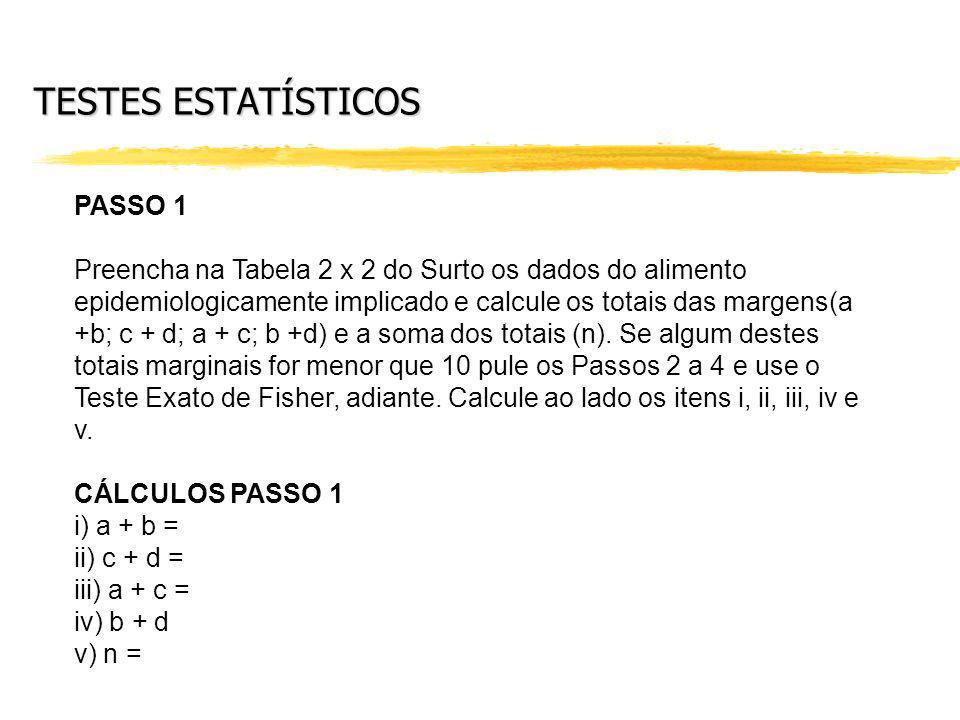 TESTES ESTATÍSTICOS PASSO 1