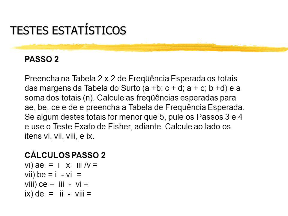 TESTES ESTATÍSTICOS PASSO 2