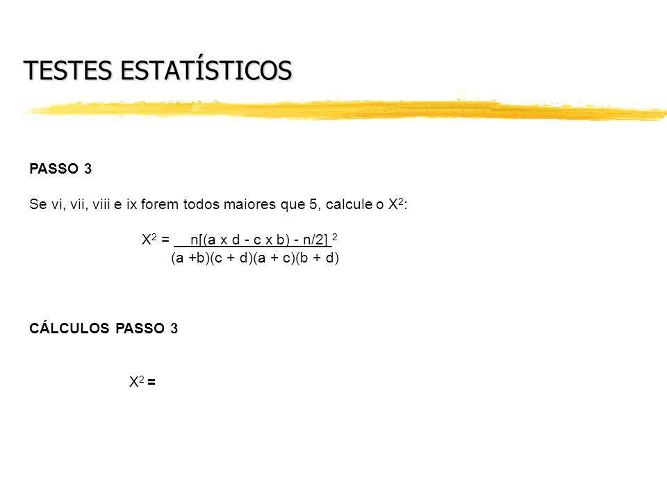 TESTES ESTATÍSTICOS PASSO 3