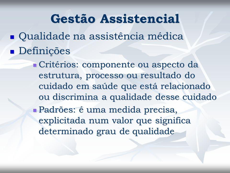 Gestão Assistencial Qualidade na assistência médica Definições
