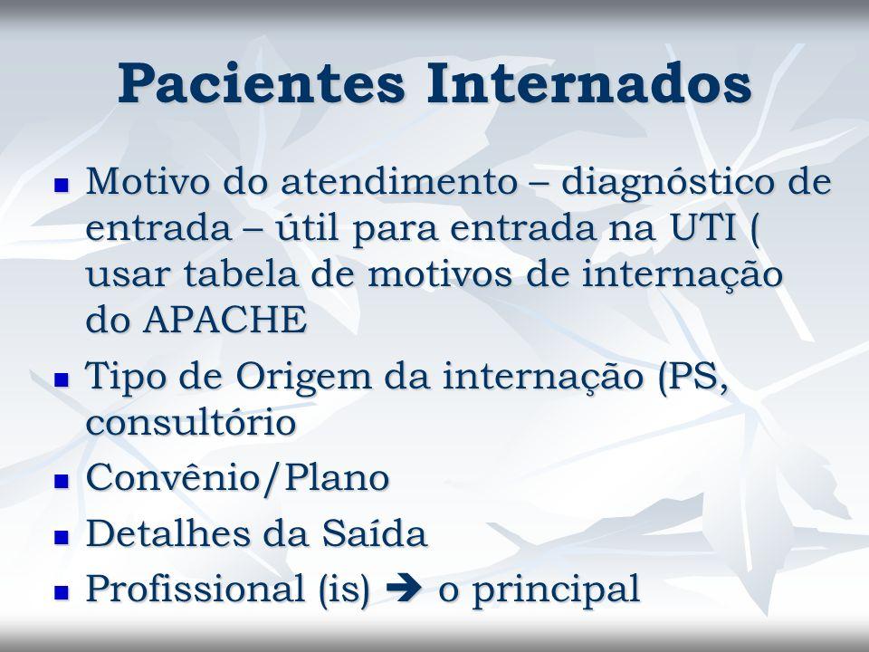 Pacientes Internados Motivo do atendimento – diagnóstico de entrada – útil para entrada na UTI ( usar tabela de motivos de internação do APACHE.