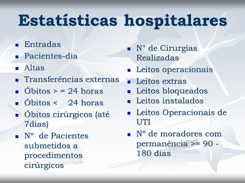 Estatísticas hospitalares