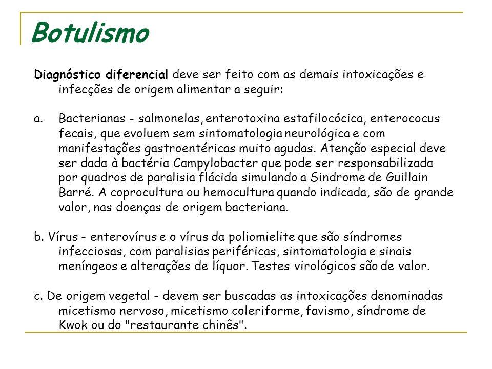 Botulismo Diagnóstico diferencial deve ser feito com as demais intoxicações e infecções de origem alimentar a seguir: