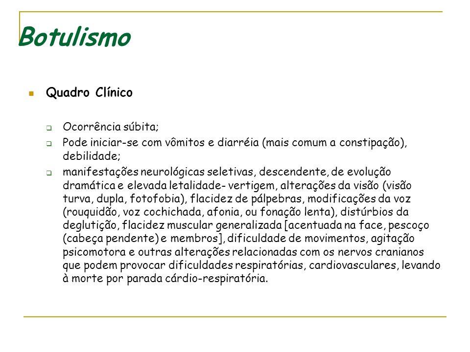 Botulismo Quadro Clínico Ocorrência súbita;