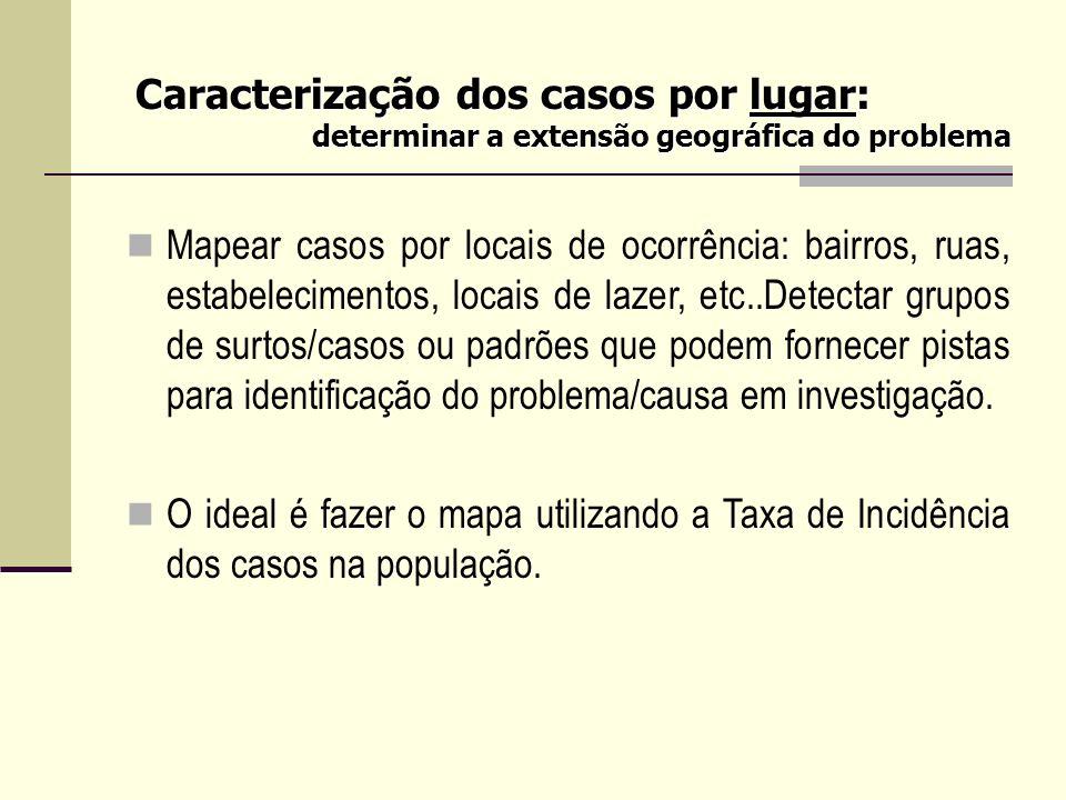 Caracterização dos casos por lugar: