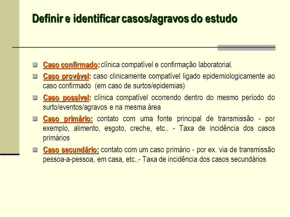 Definir e identificar casos/agravos do estudo