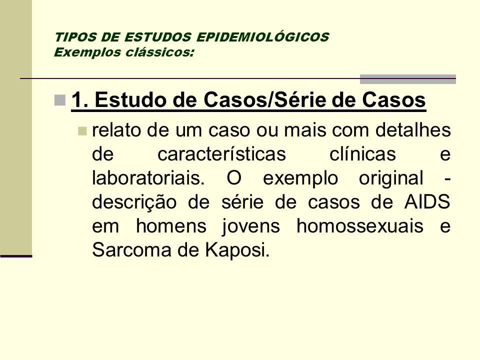 TIPOS DE ESTUDOS EPIDEMIOLÓGICOS Exemplos clássicos:
