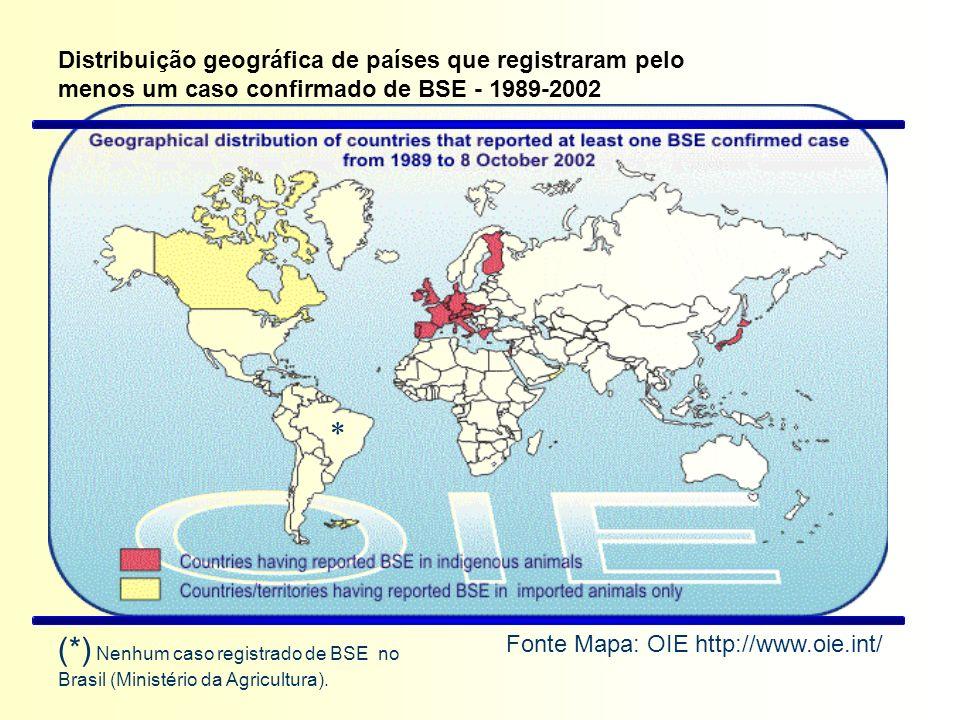 Distribuição geográfica de países que registraram pelo menos um caso confirmado de BSE - 1989-2002