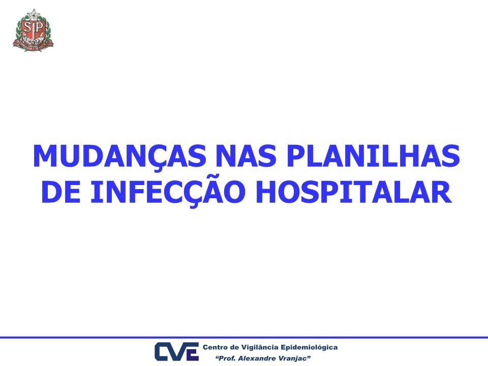 MUDANÇAS NAS PLANILHAS DE INFECÇÃO HOSPITALAR