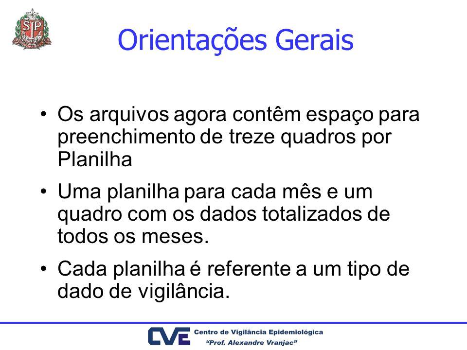 Orientações GeraisOs arquivos agora contêm espaço para preenchimento de treze quadros por Planilha.