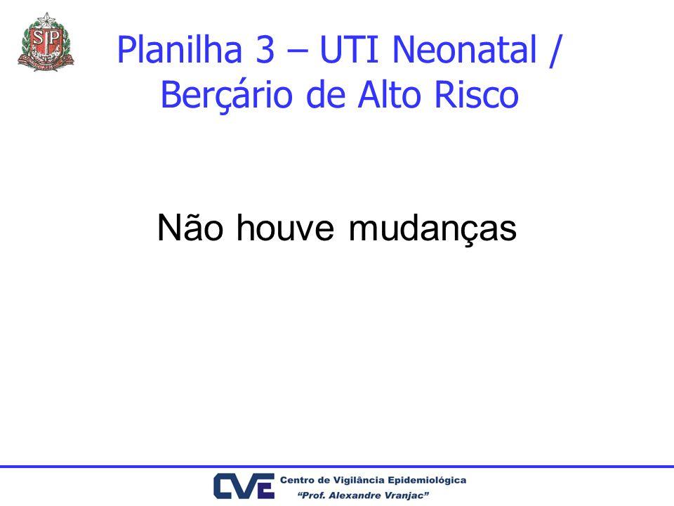 Planilha 3 – UTI Neonatal / Berçário de Alto Risco