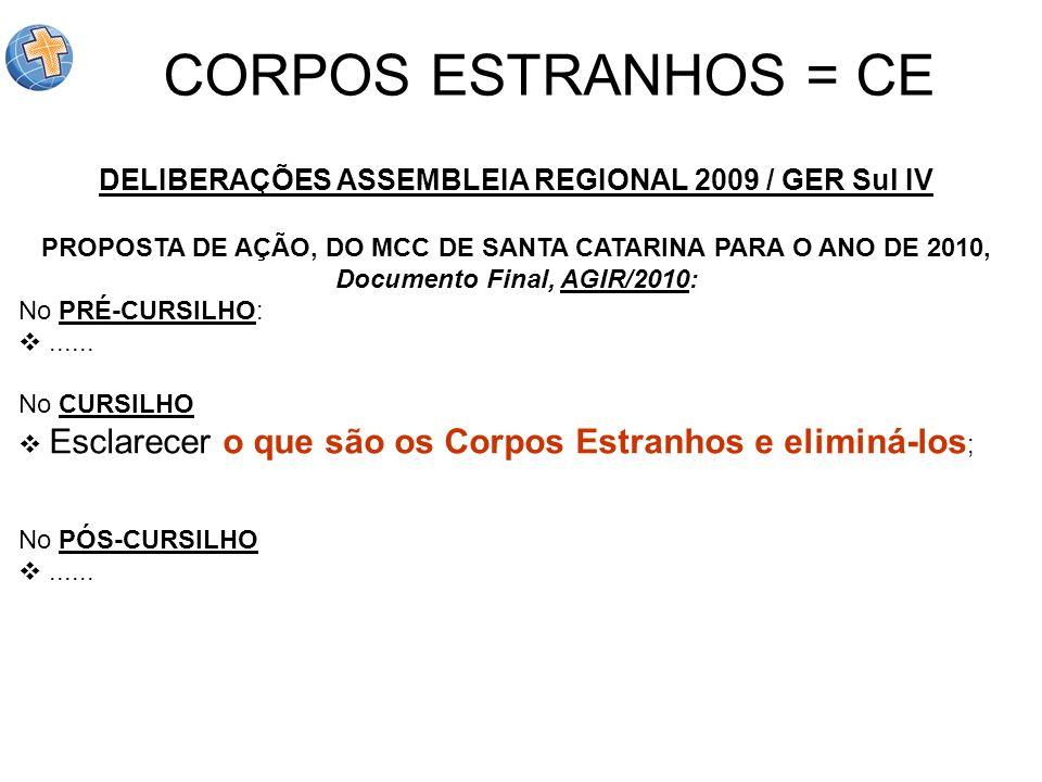 DELIBERAÇÕES ASSEMBLEIA REGIONAL 2009 / GER Sul IV